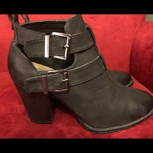 Just Fab Black Leather Boots with Buckles